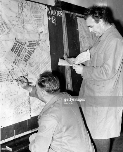The search for the brutal killer of Miss Katherine Lillian Armstrong goes on¿ a week after her body was found in her home at Sandyford, Newcastle. Inspector G. Ferguson and Det-Sergeant E.Briggs in the murder room at Newcastle city police headquarters mark off houses on the map which have been visited by detectives-working from the murder headquarters at St Barnabas's Church Hall, near Goldspink Lane, where Miss Armstrong lived. 7th November 1963. (Photo by NCJ Archive/Mirrorpix/Mirrorpix via Getty Images)