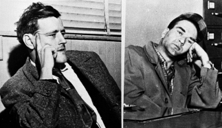 Joseph L. Taborsky, left, and Arthur Colombe, right, were linked to six murders and eight armed robberies. State police said one of the pair confessed, implicating the othe. Feb. 1957 photo. (AP Photo)